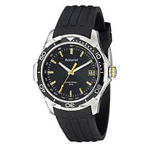 Accurist Men's Black Silicone Strap Watch - Product number 9230807