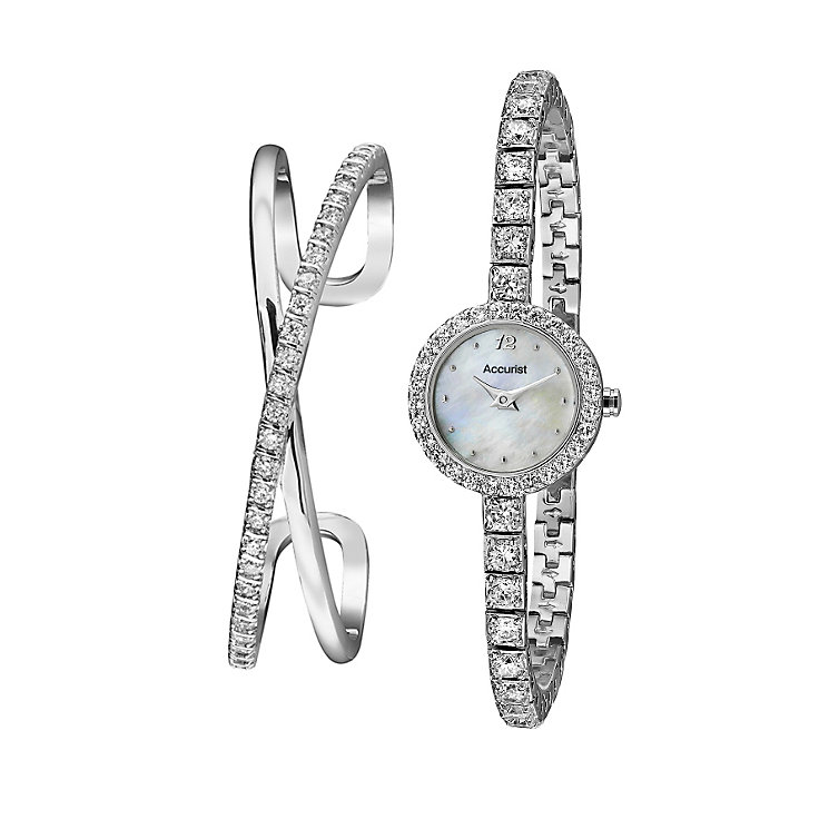Accurist Ladies' Stone Set Bracelet Watch & Cuff Set - Product number 9230815