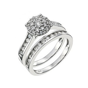 18ct white gold 1 carat diamond bridal set - Product number 9231293