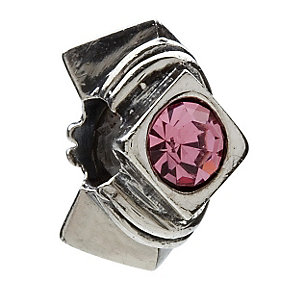 Chamilia diamond shape silver & pink cubic zirconia bead - Product number 9233180