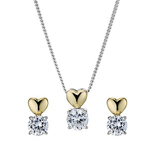 Silver & 9ct Gold Cubic Zirconia Pendant & Earrings Set - Product number 9235809