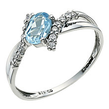 9ct White Gold Blue Topaz & Cubic Zirconia Ring - Product number 9236503