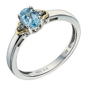 Silver & 9ct Yellow Gold Cubic Zirconia & Blue Topaz Ring - Product number 9236783