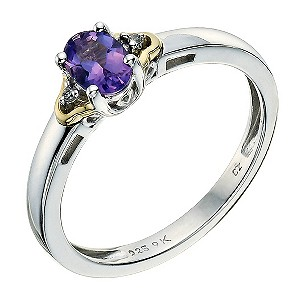 Silver & 9ct Yellow Gold Cubic Zirconia & Amethyst Ring - Product number 9237089