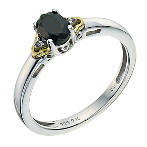 Silver & 9ct Yellow Gold Cubic Zirconia & Sapphire Ring - Product number 9237224