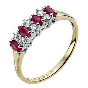 Silver & 9ct Yellow Gold Created Ruby Ring - Product number 9237364