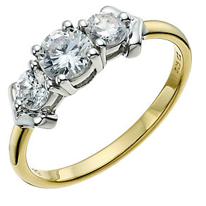 Silver & Rolled Gold Cubic Zirconia Trilogy Ring - Product number 9238379