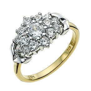 Silver & Rolled Gold Cubic Zirconia Cluster Ring - Product number 9238514