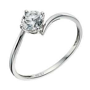 9ct White Gold Cubic Zirconia Kick Ring 5mm - Product number 9239227