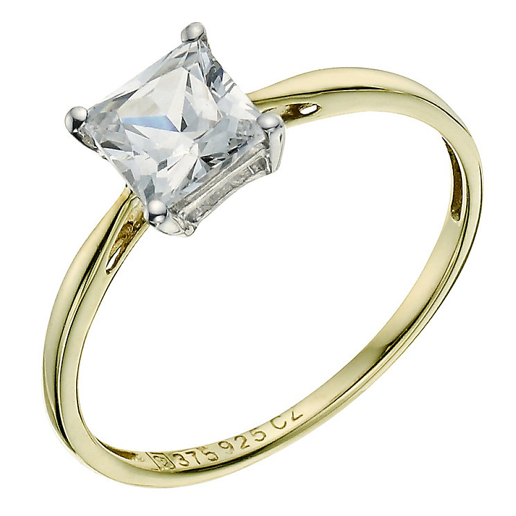 Silver & 9ct Yellow Gold Princess Cut Cubic Zirconia Ring - Product number 9239650