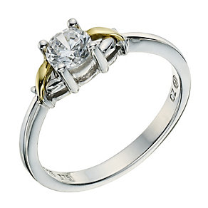 Silver & 9ct Yellow Gold Cubic Zirconia Ring - Product number 9240659