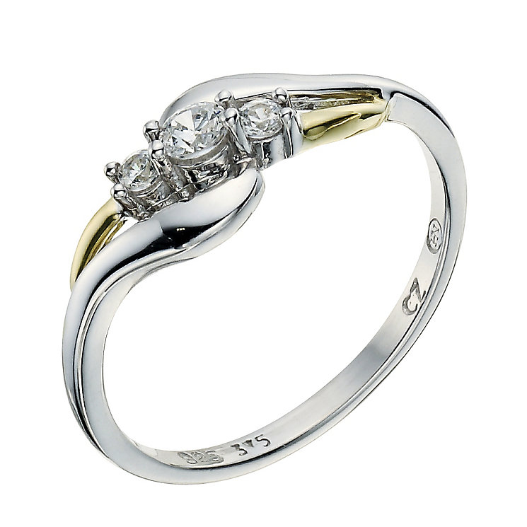Silver & 9ct Yellow Gold Three Stone Cubic Zirconia Ring - Product number 9240799