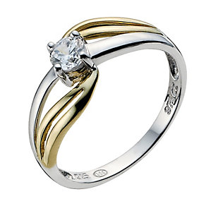 Silver & 9ct Yellow Gold Cubic Zirconia Swirl Ring - Product number 9241213