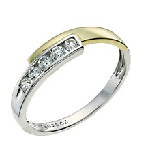 Silver & 9ct Yellow Gold Cubic Zirconia Crossover Ring - Product number 9241353