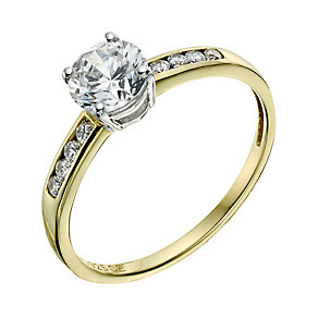 Silver & 9ct Yellow Gold Cubic Zirconia Ring - Product number 9241647