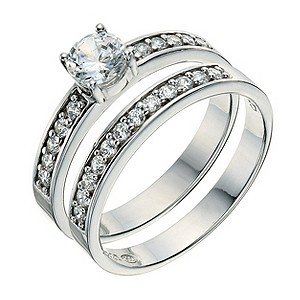 Platinum Plated Silver Cubic Zirconia Bridal Ring Set Size L - Product number 9241795