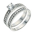 Platinum Plated Silver Cubic Zirconia Bridal Ring Set Size N - Product number 9241809
