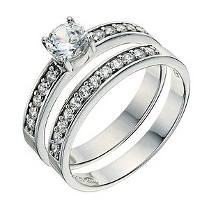 Platinum Plated Silver Cubic Zirconia Bridal Ring Set Size P - Product number 9241817