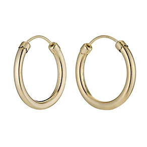 9ct Yellow Gold Rolled Gold 18mm Hoop Earrings - Product number 9242058