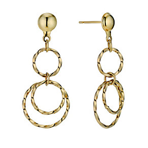 9ct Yellow Rolled Gold Drop Earrings - Product number 9242325