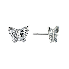 9ct White Gold Butterfly Stud Earrings - Product number 9242686