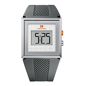 Boss Orange Men's Grey Rubber Strap Digital Watch - Product number 9242945