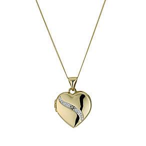 9ct Yellow Gold Diamond Set Heart Locket - Product number 9243038