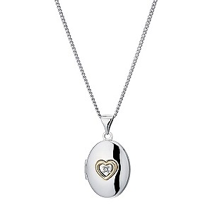 Silver & 9ct Yellow Gold Heart & Diamond Oval Locket - Product number 9243186