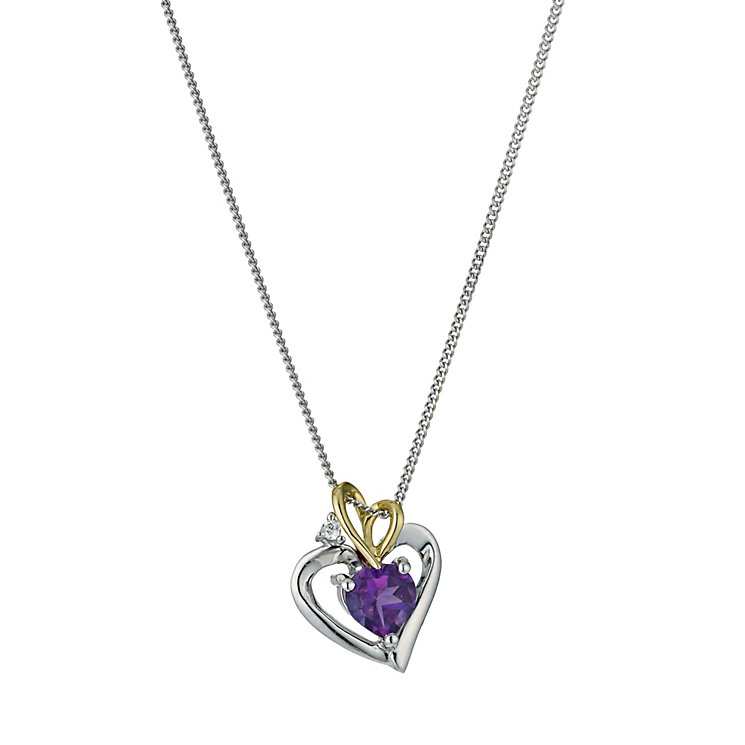 Silver & 9ct Yellow Gold Heart & Amethyst Centre - Product number 9243445