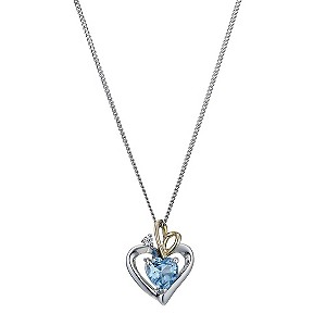 Silver & 9ct Yellow Gold Blue Topaz Heart Pendant - Product number 9243461
