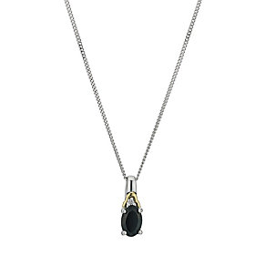 Silver & 9ct Yellow Gold Oval Sapphire Pendant - Product number 9243534