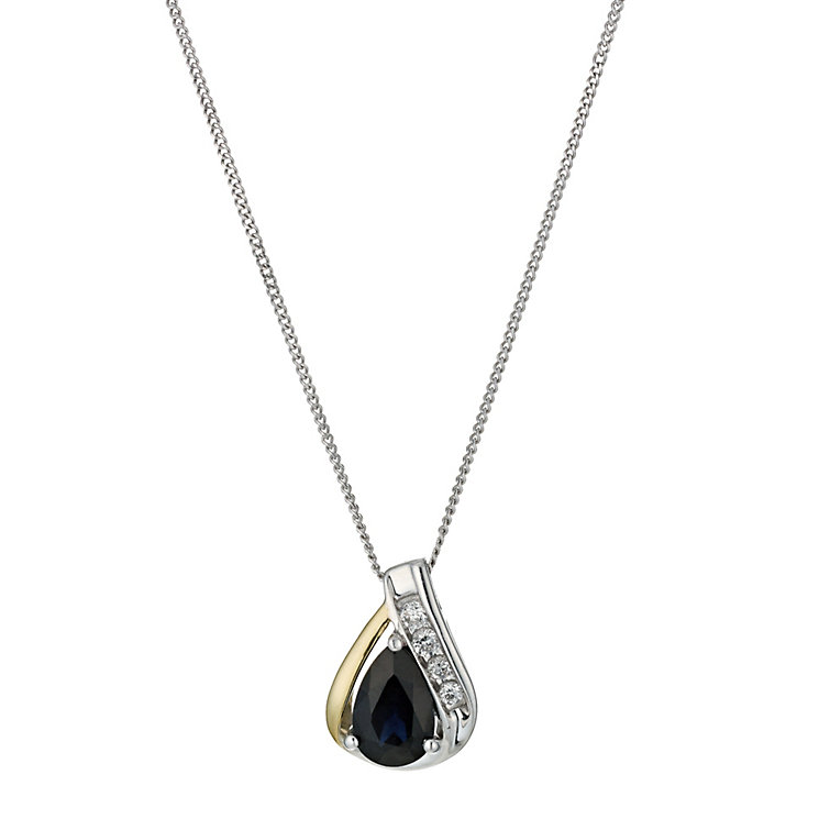 Silver & 9ct yellow gold teardrop sapphire pendant - Product number 9243542