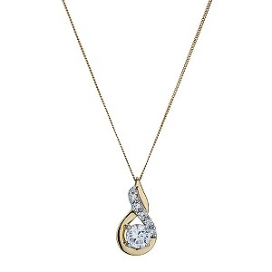 9ct Yellow Gold Cubic Zirconia Figure of Eight Pendant - Product number 9243593