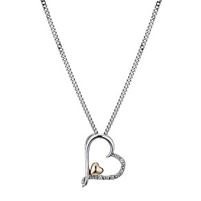 Silver & 9ct Yellow Gold Heart Pendant - Product number 9243658