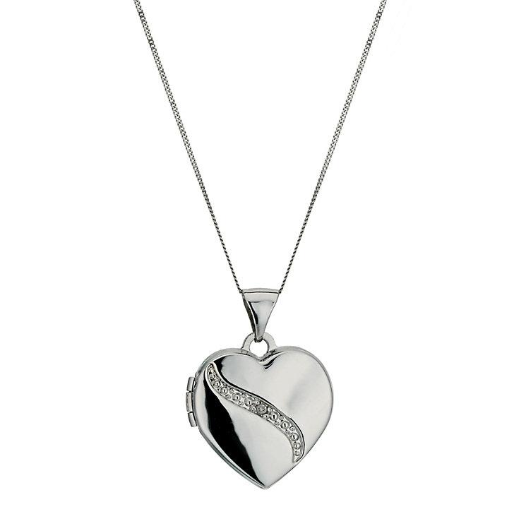 9ct White Gold Diamond Set Heart Shaped Locket 18 Chain