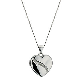 9ct White Gold Diamond Set Heart Shaped Locket 18