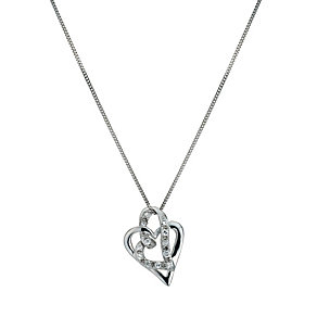 9ct White Gold Cubic Zirconia Double Heart Pendant - Product number 9243690