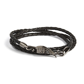 Simon Carter men's black leather wing bracelet - Product number 9245588