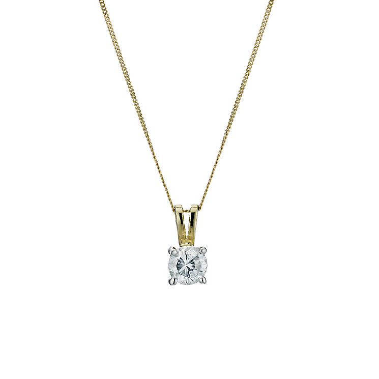 18ct yellow gold 66pt diamond solitaire pendant - Product number 9246150