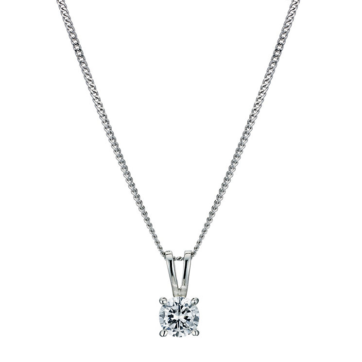 Platinum half carat diamond solitaire pendant - Product number 9246169
