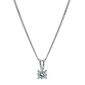 Platinum half carat diamond solitaire pendant - Product number 9246169