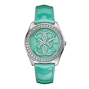 Guess Ladies' Stone Set & Green Patent Strap Watch - Product number 9246266
