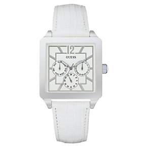 Guess Square Dial White Strap Watch - Product number 9246304