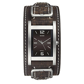 Guess Men's Brown Stitched Strap Watch - Product number 9246479