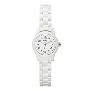 Guess Ladies' Stone Set & White Strap Watch - Product number 9246509