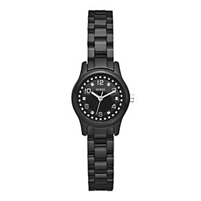 Guess Ladies' Stone Set & Black Strap Watch - Product number 9246517