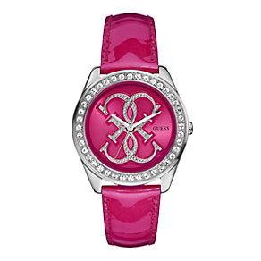 Guess Ladies' Stone Set & Pink Patent Strap Watch - Product number 9246576