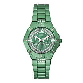 Guess Ladies' Stone Set Green Bracelet Watch - Product number 9246592