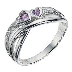 9ct White Gold Pink Sapphire & Diamond Heart Ring - Product number 9247289