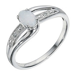 9ct White Gold Opal & Diamond Ring - Product number 9247661